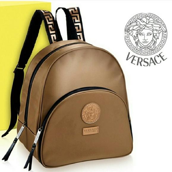 VERSACE parfum gold medusa emblem backpack NWT 46c31972c90b0